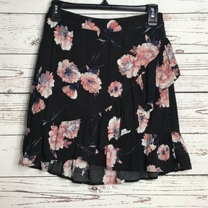 Cotton Candy Black Floral Print Ruffle Mini Skirt